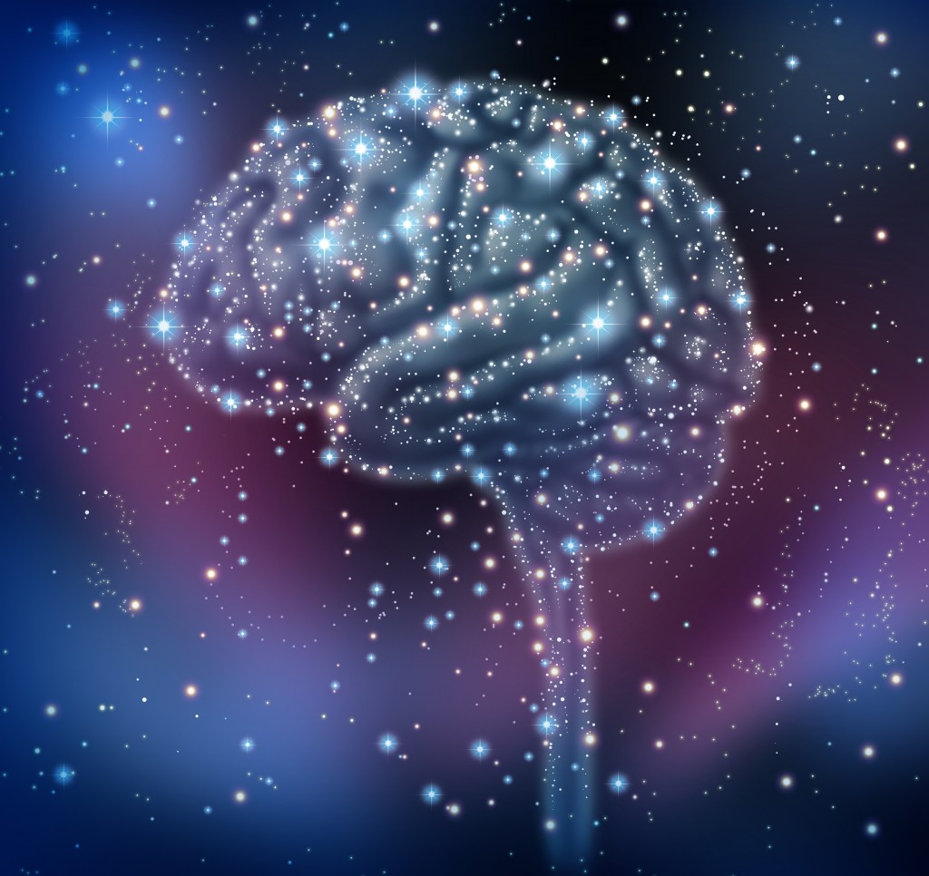 Brain intelligence discovery with a human brain shape made of stars and planets in a space beckground as a neurological health concept for research and solutions.
